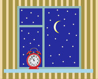 The window and the stars - illustrations Royalty Free Stock Photo