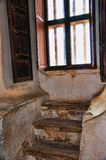 Window with steps in San Xavier del Bac the Spanish Catholic Mission Tucson Arizona. Mission San Xavier del Bac is a historic Spanish Catholic mission located stock image