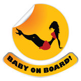 Window sticker. With baby (ironic) on board Stock Images