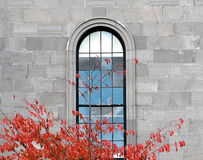Window In Stone Building And Coloured Leaves Stock Photography