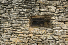 Window on Stone huts in Provence. Stone huts in the Bories Village near Gordes, France Royalty Free Stock Image