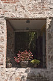 Window in stone wall Royalty Free Stock Images