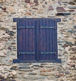 Window  in  the stone wall Stock Photo