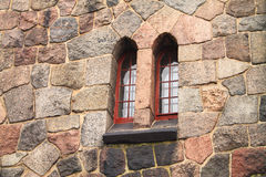 Window in a stone wall. Of castle Royalty Free Stock Photos