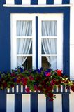 Window of striped houses in Costa Nova royalty free stock photography