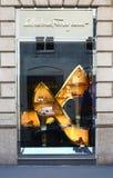 Window of stylist Salvatore Ferragamo in Milan Royalty Free Stock Image
