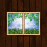Window with summer landscape Royalty Free Stock Image