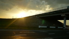 Window sun road moving. Driving shot with roof mounted camera on a road window stock footage