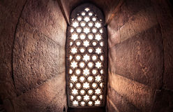 Window with sunglow in Qutub Minar stock photo