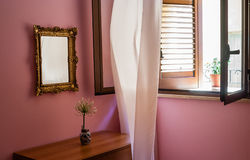 Window with sunlight and  and curtain Royalty Free Stock Photos