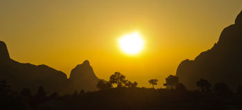 The Window at sunset in the Chisos Mountains Stock Images