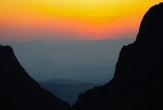 The Window at sunset in the Chisos Mountains Stock Photo