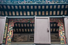 Window at Tai Fu Tai Ancestral Home, Hong Kong China. Hong Kong, China - March 8, 2019: Tai Fu Tai Ancestral home in New Territory. Closeup of window with highly stock photography