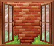 A window and the tall stonewall. Illustration of a window and the tall stonewall stock illustration