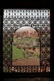 Window on Telouet. From the Kasbah of Telouet ,Marocco landscape Stock Photo