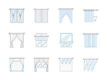 Window textile decor flat line icons set Royalty Free Stock Photography