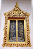 Window of Thai Royal Ordination Hall from Nonthaburi royalty free stock photography