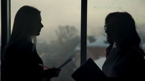 By the window there are two silhouettes of women with papers in hand. They lead talking. Staff in the office talking and holding in their hands paper and pens stock video