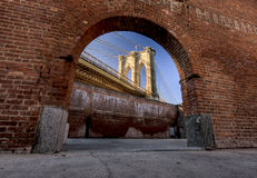 Window to Brooklyn Bridge Royalty Free Stock Photography