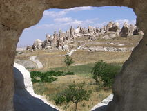 Window to Cappadocia. Valley with fairy chimneys near Goreme, Cappadocia, Turkey Royalty Free Stock Images