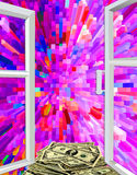 Window to colored abstraction and dollars Royalty Free Stock Photos