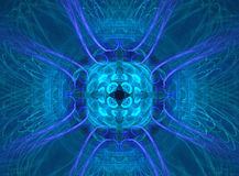 Window to the future. A fractal design in different blue tones. This design has interesting textures / patterns and  a central weighted composition Royalty Free Stock Images