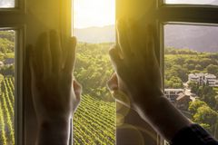 Window to the new life, hands open window with gorgeous landscape nature view on summer stock image