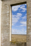 Window to the Prairie. An empty window casement looking out on the prairie Stock Photo