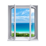 Window to the sea. Window open to the view of the sea Stock Images