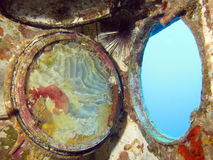 Window to the Sea. A porthole from inside a wreck. shot in the Red Sea 18/10/2008 Stock Photography