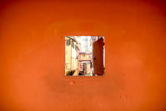 Window to water canal in Bologna city Stock Images