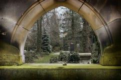 Window in tombstone stock image