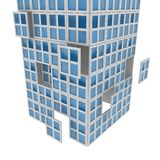 Window tower. 3d window shapes forming a tower, over white Royalty Free Stock Image