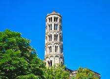 Window Tower Uzes France. Uses is a quaint town in southern France. This lovely medieval village in the Languedoc province.nThe first thing that catches your eye Royalty Free Stock Images