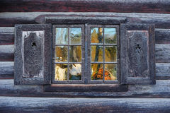 Window of a traditional Norwegian hut Stock Image