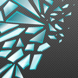 Window with transparent broken glass shards vector background royalty free illustration