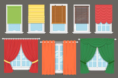 Window treatment. Vector collection of various window treatments: curtains, drapery, shades, blinds. Flat style royalty free illustration