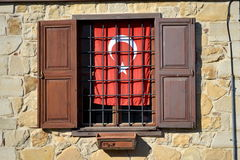 Window and Turkish flag. Open window with Turkish flag stock images