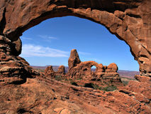 window and turret arch view Royalty Free Stock Photos