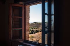 Window on Tuscany hills royalty free stock photo