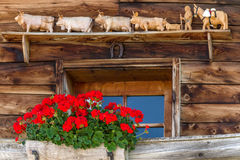 Window of typical old alpine farmhouse Royalty Free Stock Image
