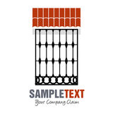Window with typical Spanish ornamental grille under roof. Good for logo Royalty Free Stock Photo