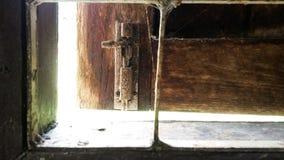 Window unlock. Open window wood Royalty Free Stock Photos