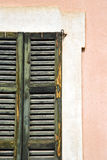 Window  varese   sunny day    wood venetian blind in the Stock Photos