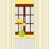 window and vase of flowers Stock Images