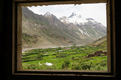 Window with a view of beautiful valley and mountain,Ladakh, Indi Stock Photo