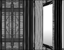 Window without a view. This is a black and white computer generated abstract illustration of a window treatment vector illustration