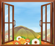 A window with a view of the blooming flowers outside and the tal. Illustration of a window with a view of the blooming flowers outside and the tall mountain Stock Photos
