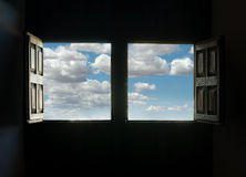 Window view and blue sky Royalty Free Stock Image