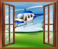 A window with a view of the chopper outside vector illustration